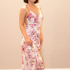 Small Floral Open Back Dress with Leg Slits